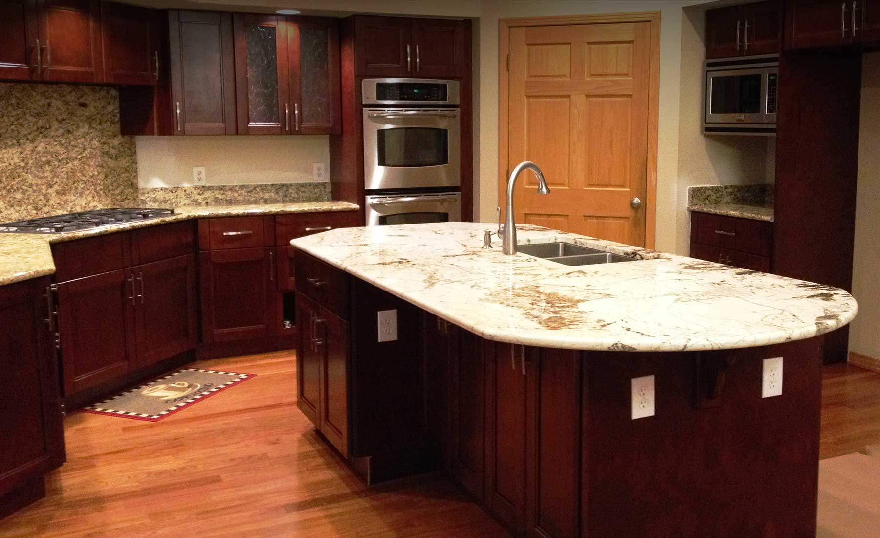 Cherry Double Shaker Kitchen Cabinets Custom Cabinets Stone